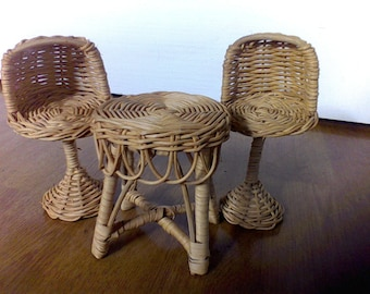 Doll house furniture, chair , table, Wicker, Rattan,