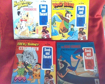 Childrens Books and Records,Yogi Bear, Road Runner, Fread & Barney,Huckleberry hound,Peterpan records made in the USA