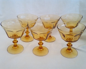 Amber footed  Sherberts Set of 6 vintage dining tumbler glasses desert cups