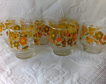 Glasses, 1960's, Six Glasses,drink ware, mid century,