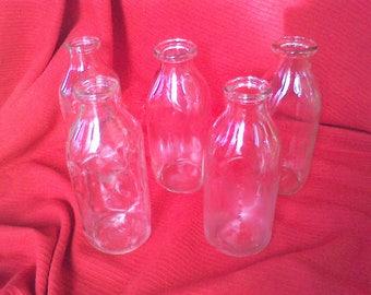 Milk bottles Set of 5 Quart size Country farm Vase, real Authentic milk bottles clear glass