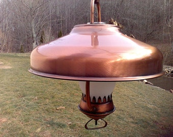 Electric light fixture, ceiling mount, lighting , copper Made in the USA, hurricane glass shade