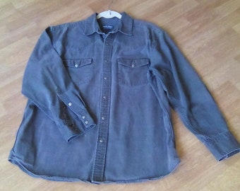 Men's WoolRich Shirt 48 chest L-XL snap front men's outdoor wear Green long sleeve