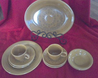 Homer Laughlin Stoneware Set, Serving platter, plate, cups, saucers, Coventry, Fiesta , Made in the USA