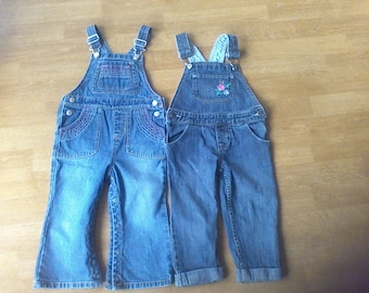 Denim Overalls 2- pair,  Children's size 2 T  work cloths, farm cloths, 100 percent Cotton,Old Navy, Oshkosh ,Kids