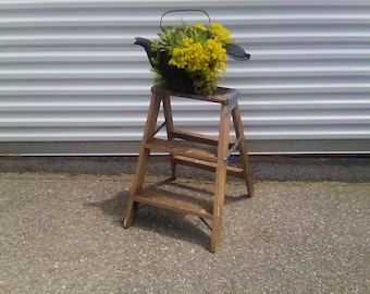 Wooden step ladder plant stand rustic decor