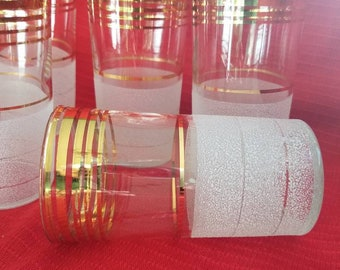 Mid century drinking glasses Set of  6 frosted gold trimed, Mid century barware