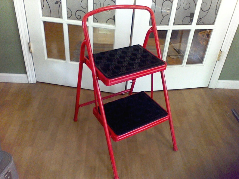 Amazing Folding Kitchen Step Stool Kitchen Chair Ladder Red Best Image Libraries Thycampuscom