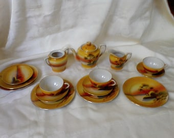 Tea Set Lunch set windmill design, made in Japan, tea pot, cups and saucers, Child's tea set hand painted , 1950's