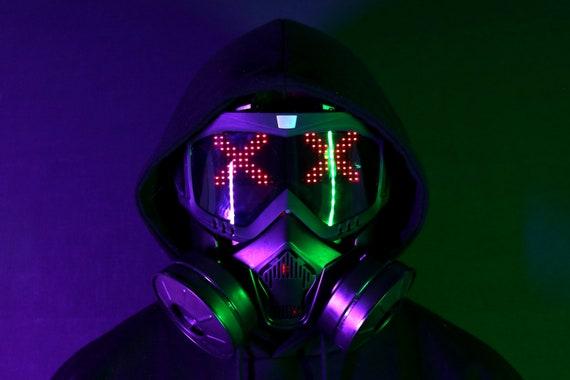 Cyber Gas Mask Gothic Accessoire Cyberpunk Futurewear LED UV Skull/&Bones