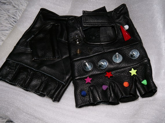 Street fighter rainbow Leather Gloves  Gloves with steel  Cyberpunk