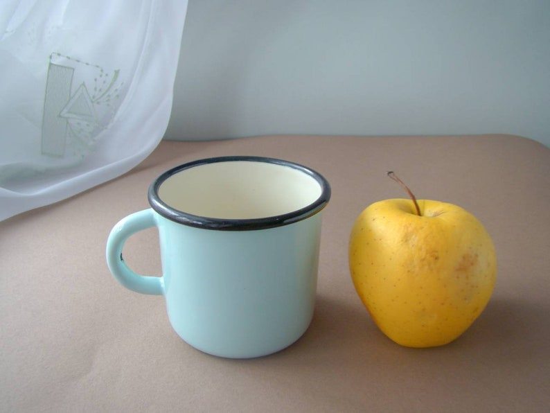0 4L Vintage Enamel Mug Blue Enamelware Camping Farmhouse Coffee Mug  Kitchen Metal Travel Mug Outdoorsman Gift for Camper Cup