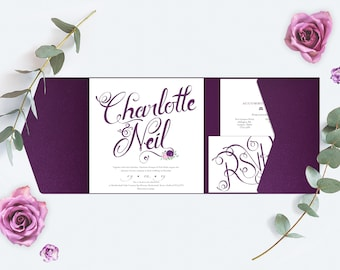 Plum / Purple Wedding Invitation, Pocket-fold Wallet design and flowers