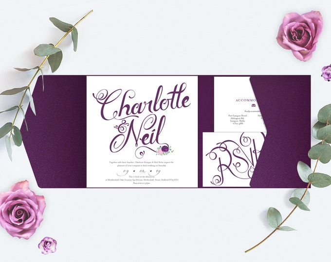 Featured listing image: Plum / Purple Wedding Invitation, Pocket-fold Wallet design and flowers