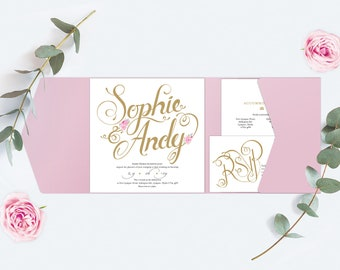 Dusty Pink Wedding Invitation, Pocket-fold Wallet with Pink Flowers