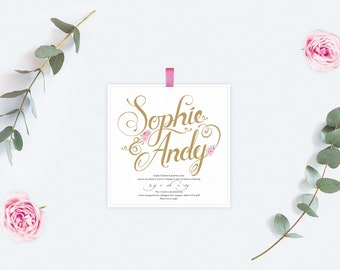Wedding Invitation with Calligraphy style design with pink flowers
