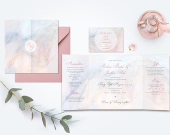 Marble Wedding Invitation - Gate Fold with Dusty Pink Envelopes