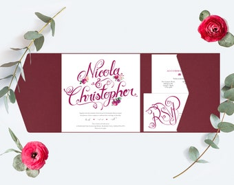 Burgundy / Deep Red Wedding Invitation, Pocket-fold Wallet and floral design