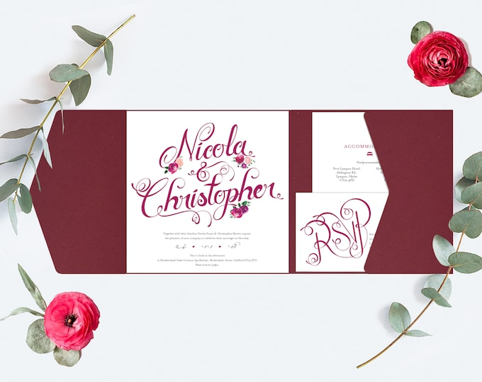 Featured listing image: Burgundy / Deep Red Wedding Invitation, Pocket-fold Wallet and floral design