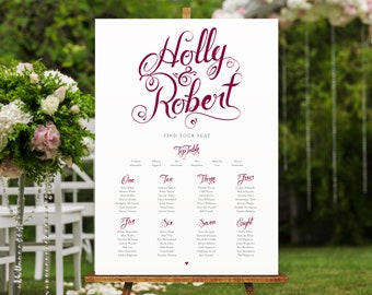 Calligraphy Style Table Plan in Burgundy or your chosen colour