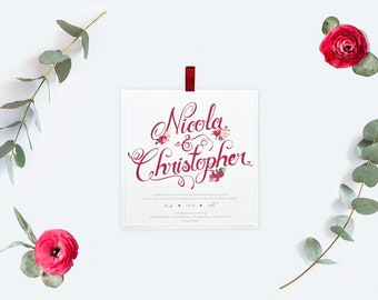 Burgundy / Red Wine Wedding Invitation with Calligraphy style design and flowers