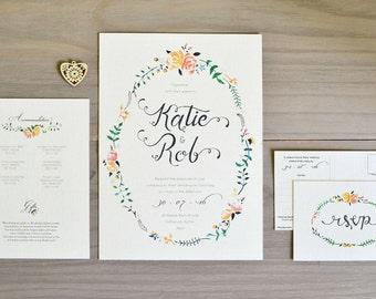 Floral Wedding Invitation in Peach & Rose - sample bundle