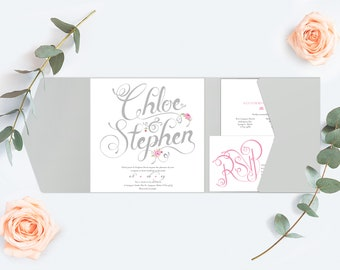 Grey Wedding Invitation, Calligraphy Style Design with Pink Flowers in a pocket-fold wallet