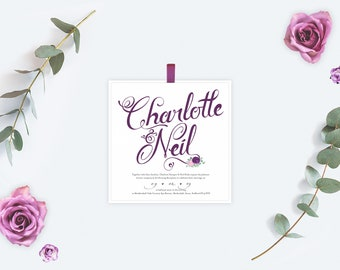 Purple / Plum Wedding Invitation with Calligraphy style design with flowers