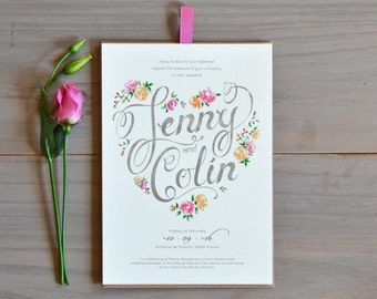Floral Heart Evening Wedding Invitation in Dusty Pink & Peach
