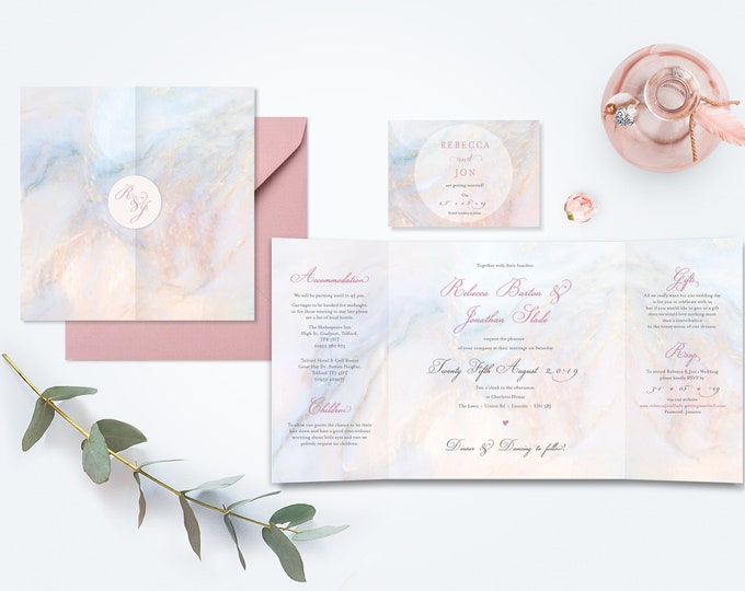 Featured listing image: Marble Wedding Invitation - Gate Fold with Dusty Pink Envelopes
