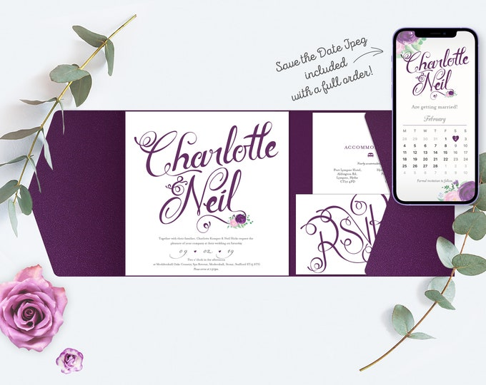 Featured listing image: Plum / Purple Wedding Invitation, Pocket-fold Wallet design and flowers