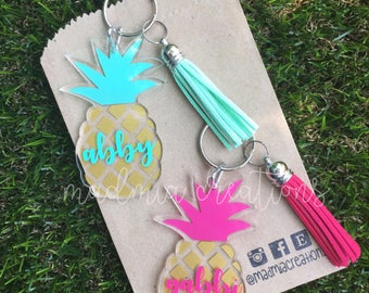 Name Pineapple Keychain {choose your own colors}