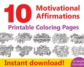 10 Printable Coloring Pages Adult Book Positive Quotes Vibes Motivational Print Affirmation Think
