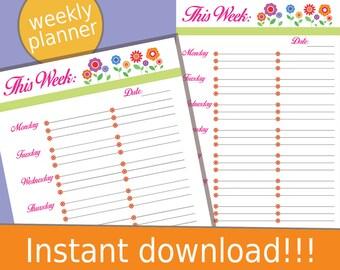 Weekly Planner, 2017 Weekly Planner, Weekly Planner Printable, Printable Planner, Printable Planner Pages, Weekly Planner 2017, 2017 Planner