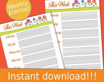 Printable Planner Pages, Weekly Planner 2017, Weekly Planner, 2017 Weekly Planner, Weekly Planner Printable, Printable Planner, 2017 Planner