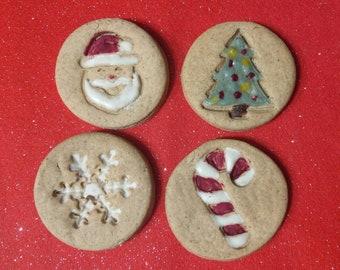 Christmas dog cookies. Wheat free dog treats, Santa, Candy cane, snowflake, Christmas tree