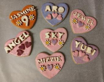 Valentines Personalised large dog cookie, wheat free dog treat