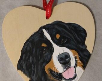 Custom pet portrait on a wooden heart.