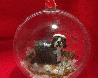 Bernese mountain dog bauble. Christmas tree decoration.
