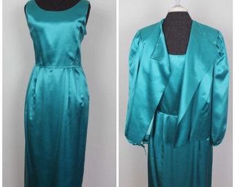 2595506e2 Vintage 80s Emilio Pucci Dress and Jacket - 70s 80s Drapey Blue Silk Wool  Dress - Size Large