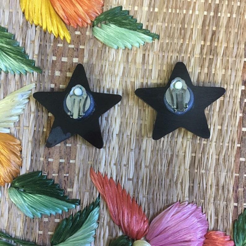 Clip Ons Vintage 80s Black Star Earrings