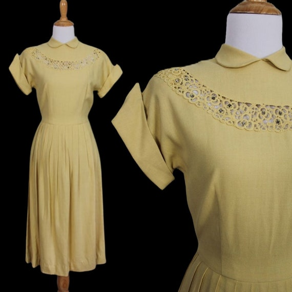 Vintage 1950s Teena Paige Rhinestone Dress - Size