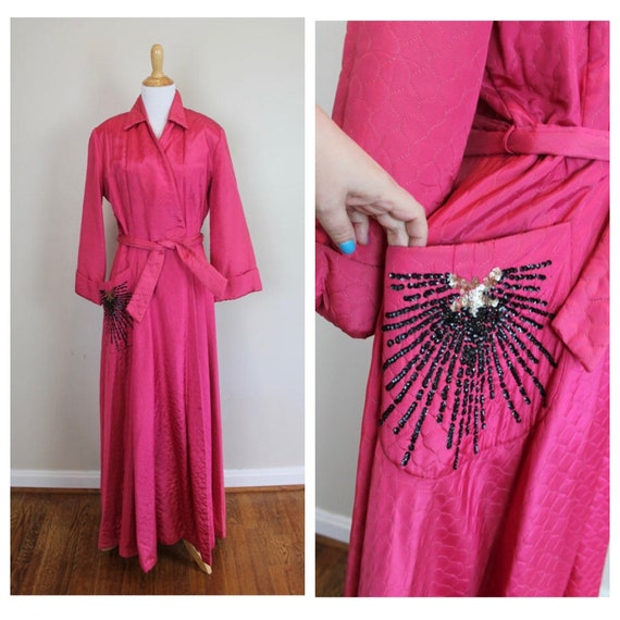 Vintage 40s Quilted Robe - Size Small, Medium