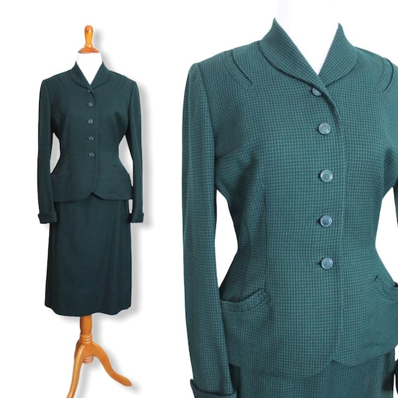 Vintage 1940s Cinched Waist Suit - Size Medium