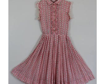 Vintage 1950s Red and White Dress - 50s Full Skirt Kay Windsor Rose Dress with Lace Petals - Size Extra Small, XS, XXS