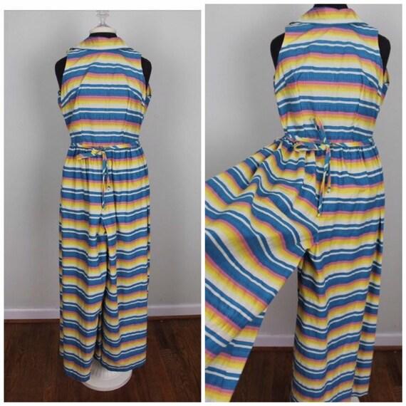 b63160a01148 Vintage 60s Rainbow Seersucker Jumpsuit Size Small Medium