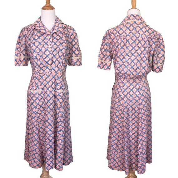 Vintage 1930s 1940s Feedsack Dress - Size Medium