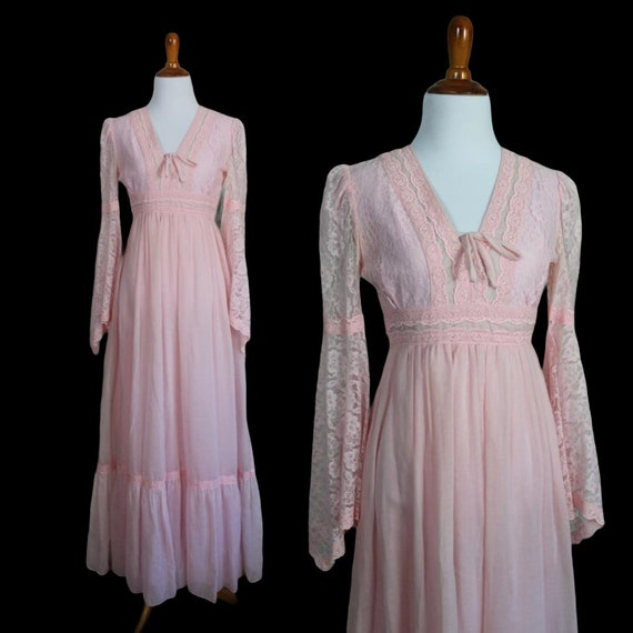 Vintage 1970s Candi Jones Prairie Dress - Size Ext
