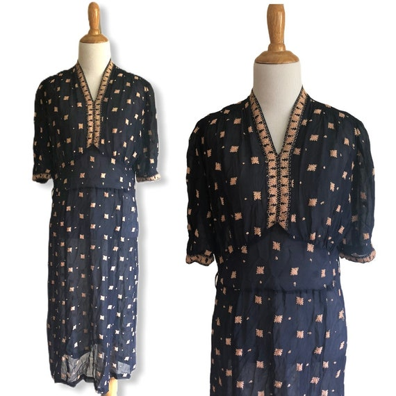 Vintage 1930s 1940s Embroidered Sheer Dress - Size