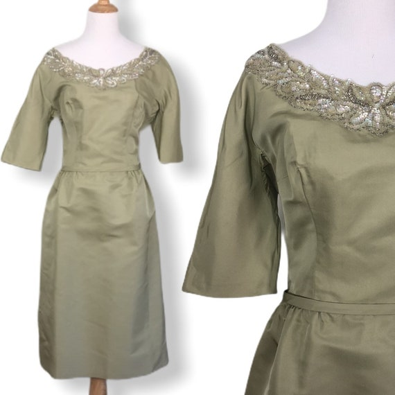 Vintage Rappi 50s Cocktail Dress with Bow Belt - S